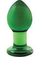 Crystal Premium Glass Butt Plug - Medium - Green