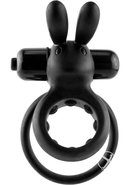 Ohare Silicone Vibrating Rabbit Cockring Waterproof Black
