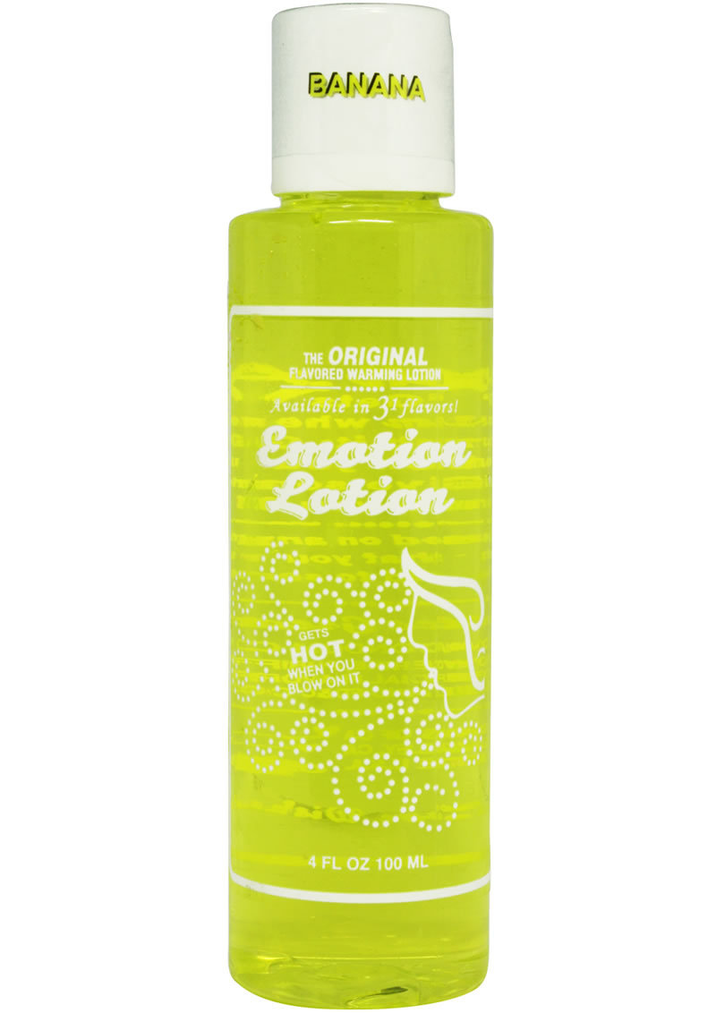 Emotion Lotion Water Based Flavored Warming Lubricant - Banana 4oz