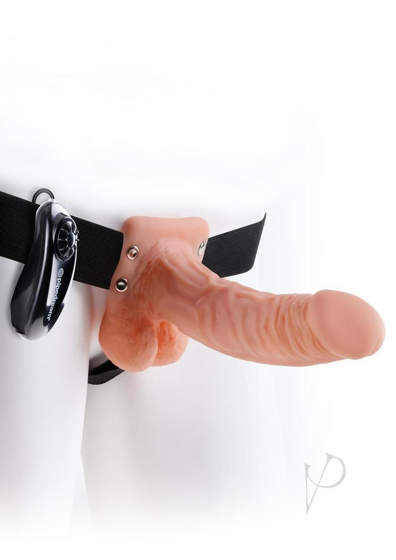 Fetish Fantasy Series Vibrating Hollow Strap-on Dildo With Balls And Harness With Remote Control 7in - Vanilla